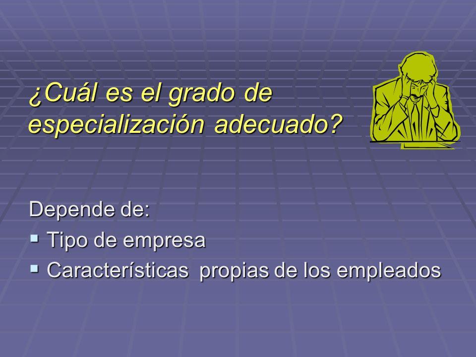 ¿Cuál es el grado de especialización adecuado? Depende de: Tipo de empresa Tipo de empresa Características propias de los empleados Características pr