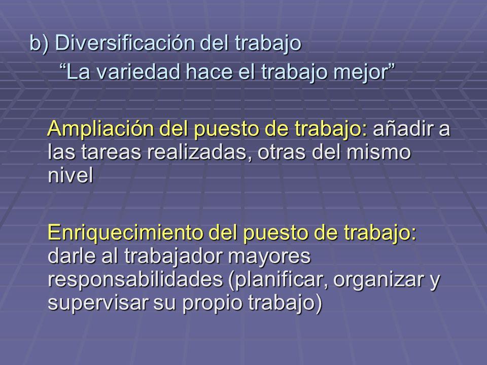 b) Diversificación del trabajo La variedad hace el trabajo mejor La variedad hace el trabajo mejor Ampliación del puesto de trabajo: añadir a las tare