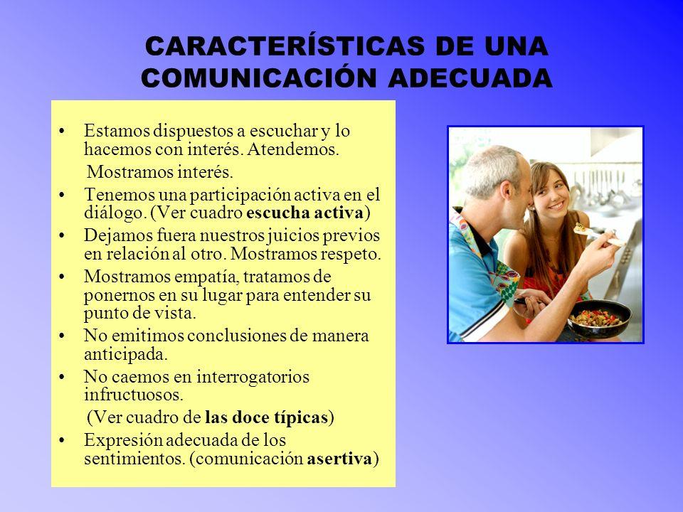 CARACTERÍSTICAS DE UNA COMUNICACIÓN ADECUADA Estamos dispuestos a escuchar y lo hacemos con interés. Atendemos. Mostramos interés. Tenemos una partici
