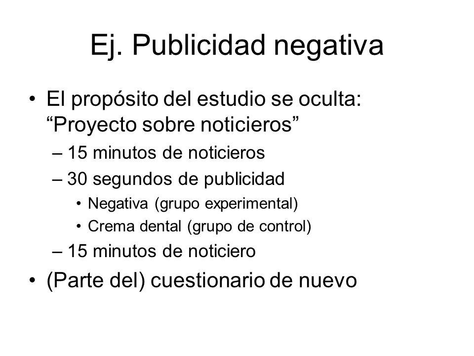 Ej. Publicidad negativa El propósito del estudio se oculta: Proyecto sobre noticieros –15 minutos de noticieros –30 segundos de publicidad Negativa (g