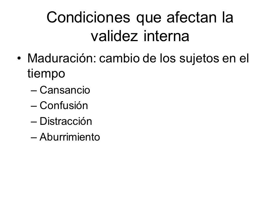 Condiciones que afectan la validez interna Maduración: cambio de los sujetos en el tiempo –Cansancio –Confusión –Distracción –Aburrimiento