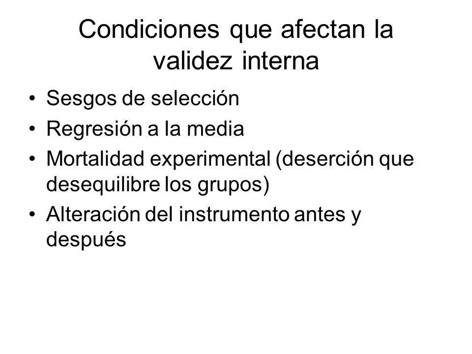 Condiciones que afectan la validez interna Sesgos de selección Regresión a la media Mortalidad experimental (deserción que desequilibre los grupos) Alteración del instrumento antes y después