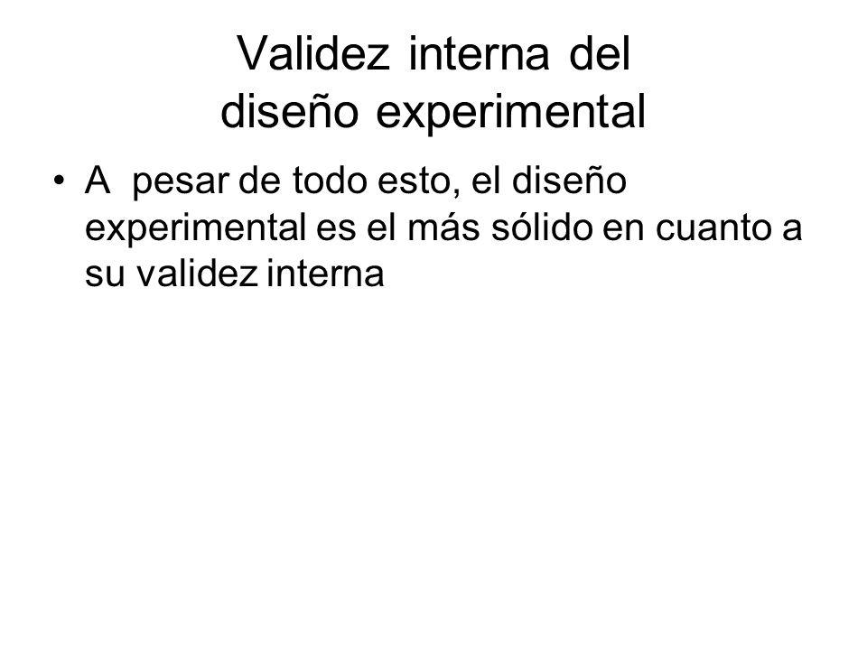 Validez interna del diseño experimental A pesar de todo esto, el diseño experimental es el más sólido en cuanto a su validez interna