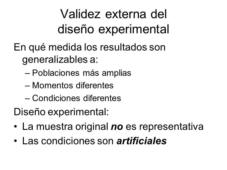 Validez externa del diseño experimental En qué medida los resultados son generalizables a: –Poblaciones más amplias –Momentos diferentes –Condiciones diferentes Diseño experimental: La muestra original no es representativa Las condiciones son artificiales