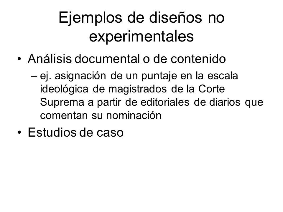 Ejemplos de diseños no experimentales Análisis documental o de contenido –ej.