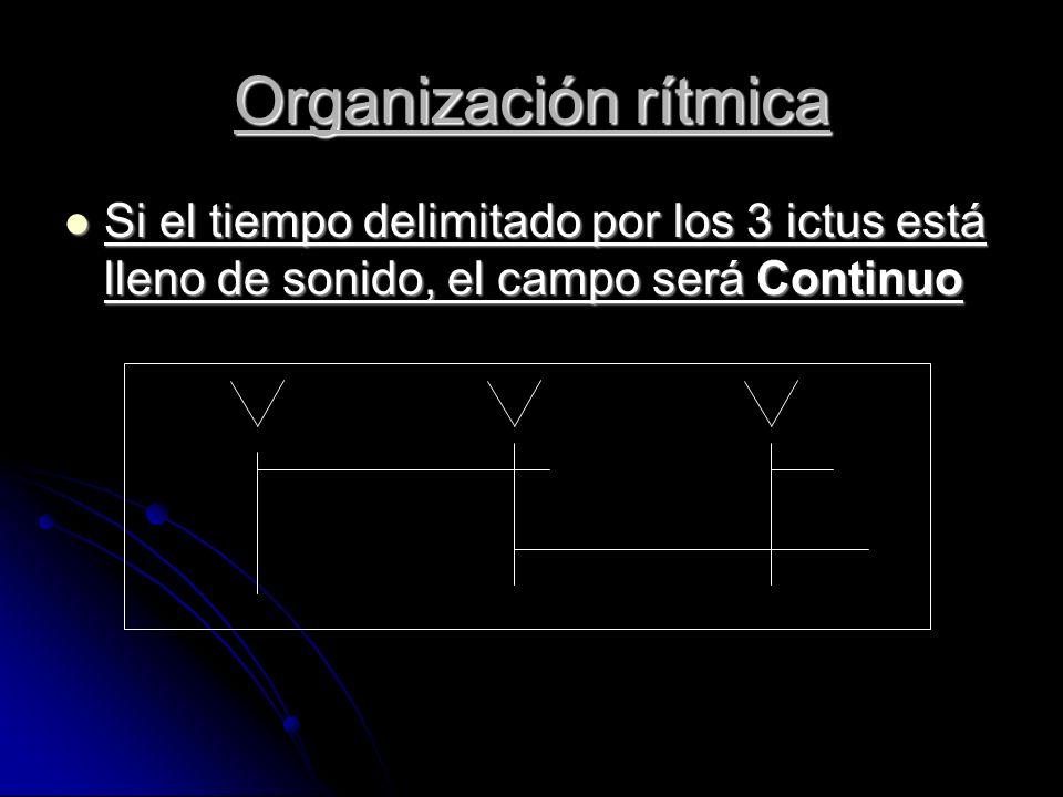 Si el tiempo delimitado por los 3 ictus está lleno de sonido, el campo será Continuo Si el tiempo delimitado por los 3 ictus está lleno de sonido, el campo será Continuo Organización rítmica