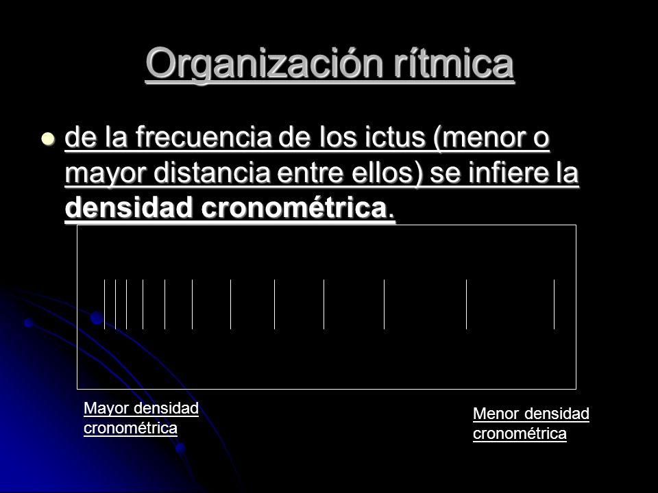 de la frecuencia de los ictus (menor o mayor distancia entre ellos) se infiere la densidad cronométrica.