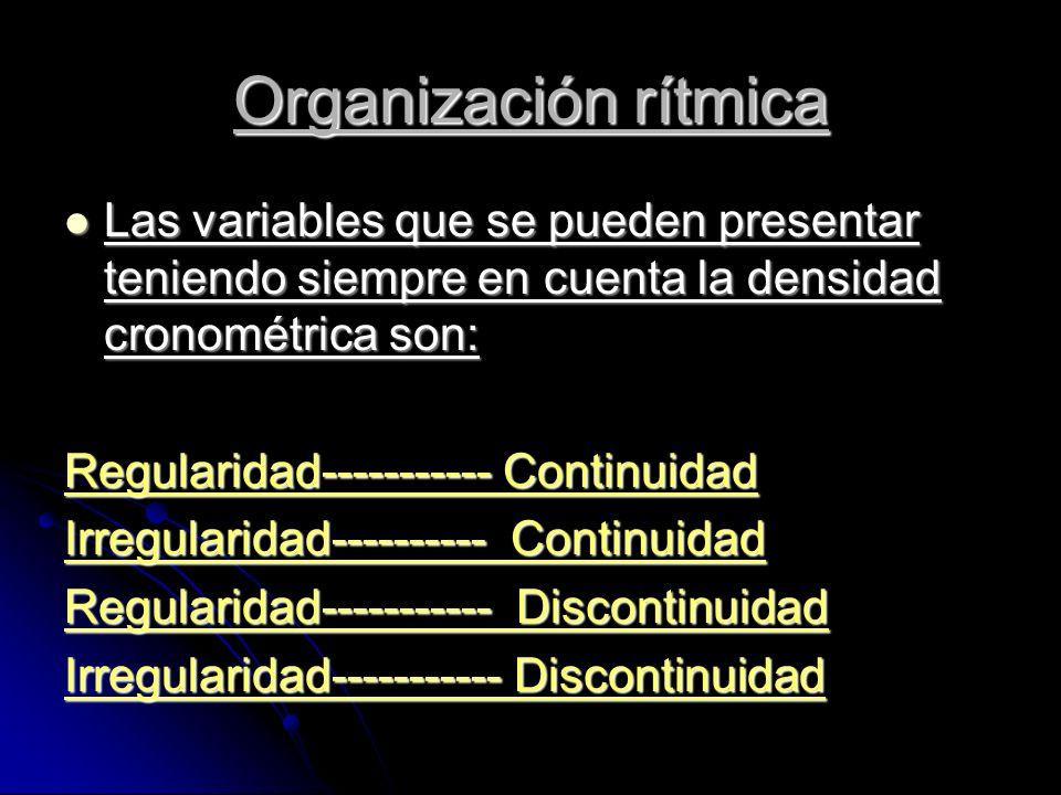 Las variables que se pueden presentar teniendo siempre en cuenta la densidad cronométrica son: Las variables que se pueden presentar teniendo siempre en cuenta la densidad cronométrica son: Regularidad----------- Continuidad Irregularidad---------- Continuidad Regularidad----------- Discontinuidad Irregularidad----------- Discontinuidad Organización rítmica