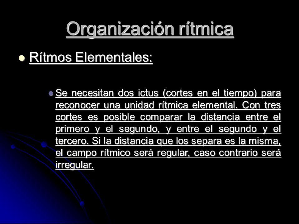 Rítmos Elementales: Rítmos Elementales: Se necesitan dos ictus (cortes en el tiempo) para reconocer una unidad rítmica elemental.