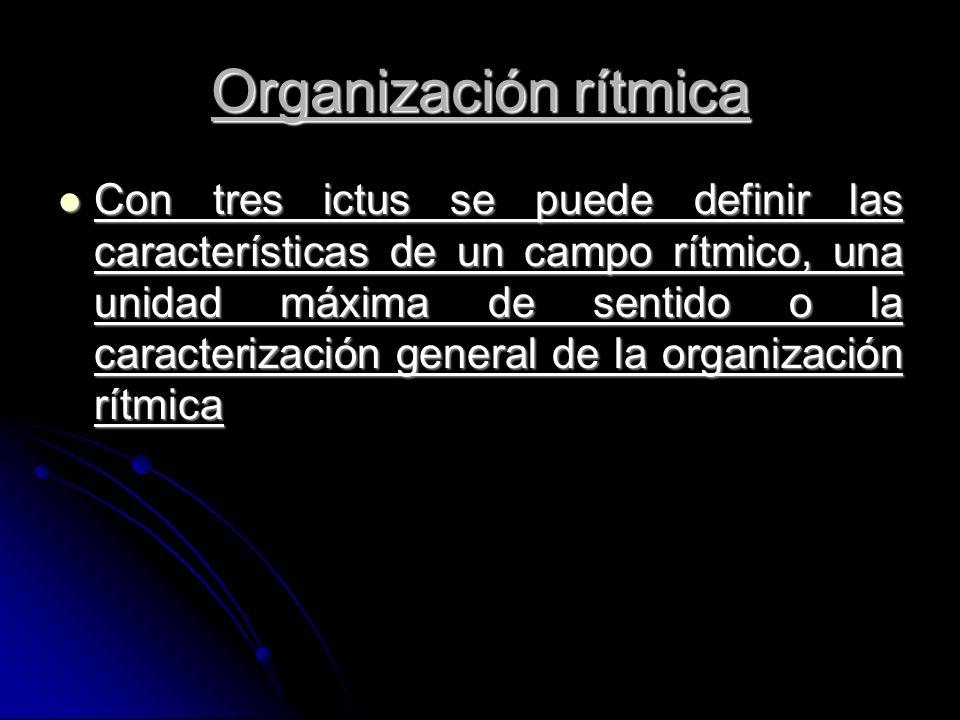 Con tres ictus se puede definir las características de un campo rítmico, una unidad máxima de sentido o la caracterización general de la organización rítmica Con tres ictus se puede definir las características de un campo rítmico, una unidad máxima de sentido o la caracterización general de la organización rítmica Organización rítmica