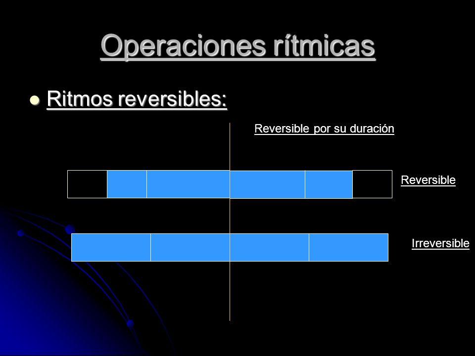 Operaciones rítmicas Ritmos reversibles: Ritmos reversibles: Reversible Irreversible Reversible por su duración