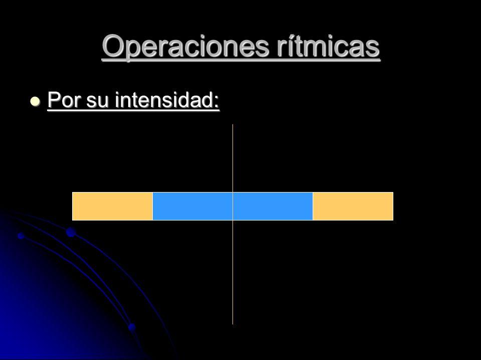 Por su intensidad: Por su intensidad: Operaciones rítmicas
