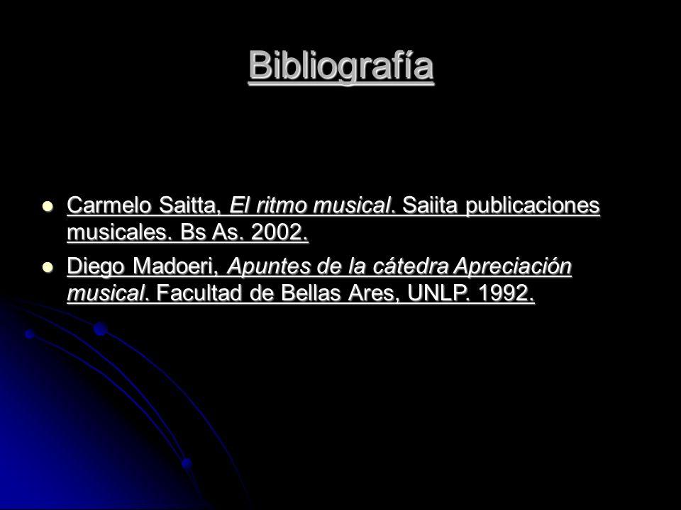 Bibliografía Carmelo Saitta, El ritmo musical. Saiita publicaciones musicales.