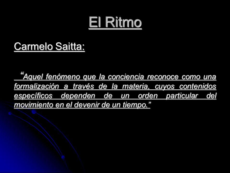 El Ritmo Carmelo Saitta: Aquel fenómeno que la conciencia reconoce como una formalización a través de la materia, cuyos contenidos específicos dependen de un orden particular del movimiento en el devenir de un tiempo.