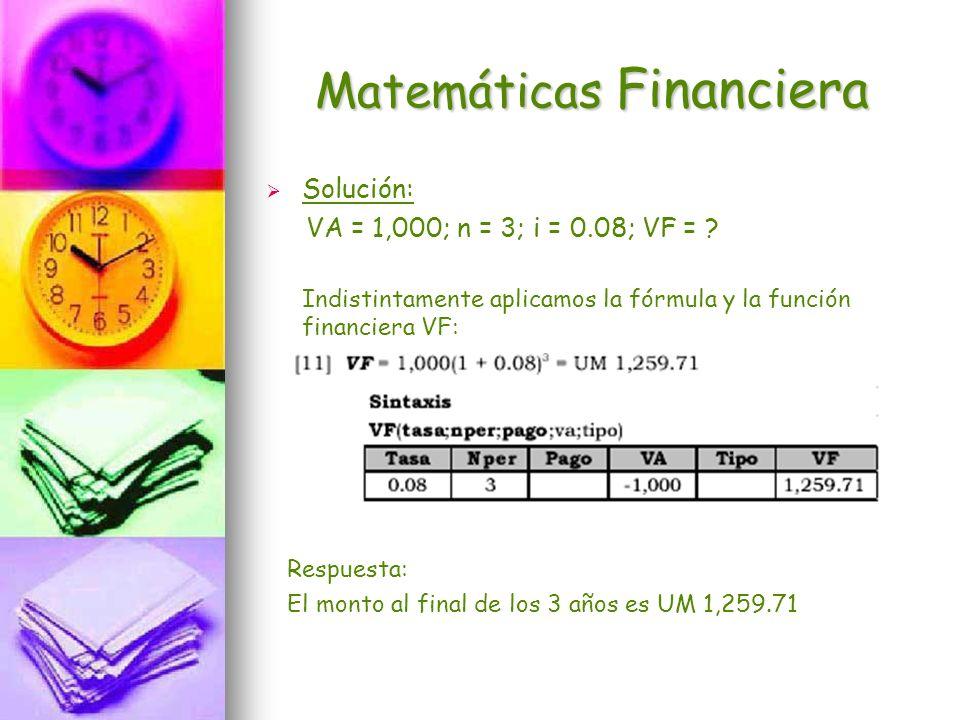 Matemáticas Financiera Solución: VA = 1,000; n = 3; i = 0.08; VF = ? Indistintamente aplicamos la fórmula y la función financiera VF: Respuesta: El mo