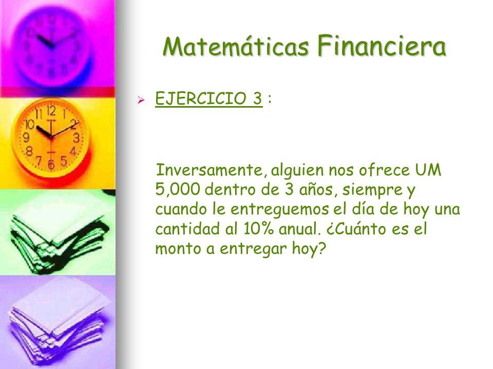 Matemáticas Financiera EJERCICIO 3 : Inversamente, alguien nos ofrece UM 5,000 dentro de 3 años, siempre y cuando le entreguemos el día de hoy una can