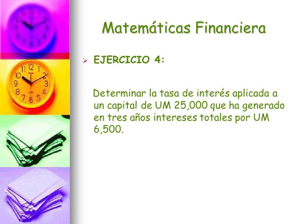 Matemáticas Financiera EJERCICIO 4: Determinar la tasa de interés aplicada a un capital de UM 25,000 que ha generado en tres años intereses totales po