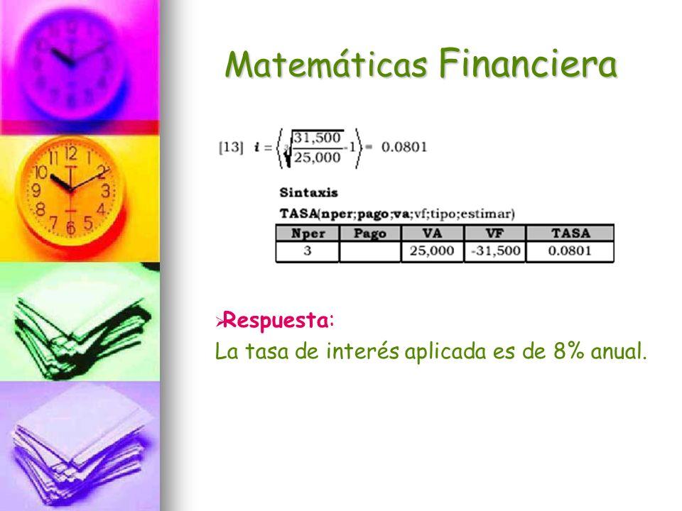 Matemáticas Financiera Respuesta: La tasa de interés aplicada es de 8% anual.