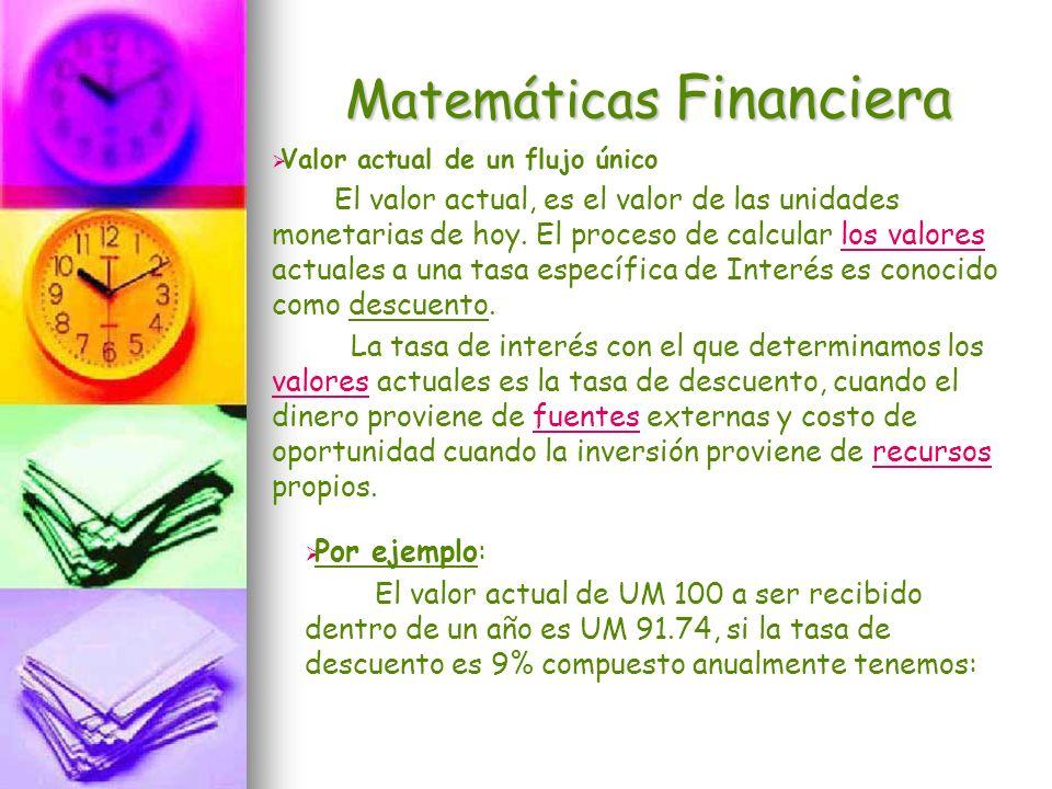 Matemáticas Financiera Valor actual de un flujo único El valor actual, es el valor de las unidades monetarias de hoy. El proceso de calcular los valor