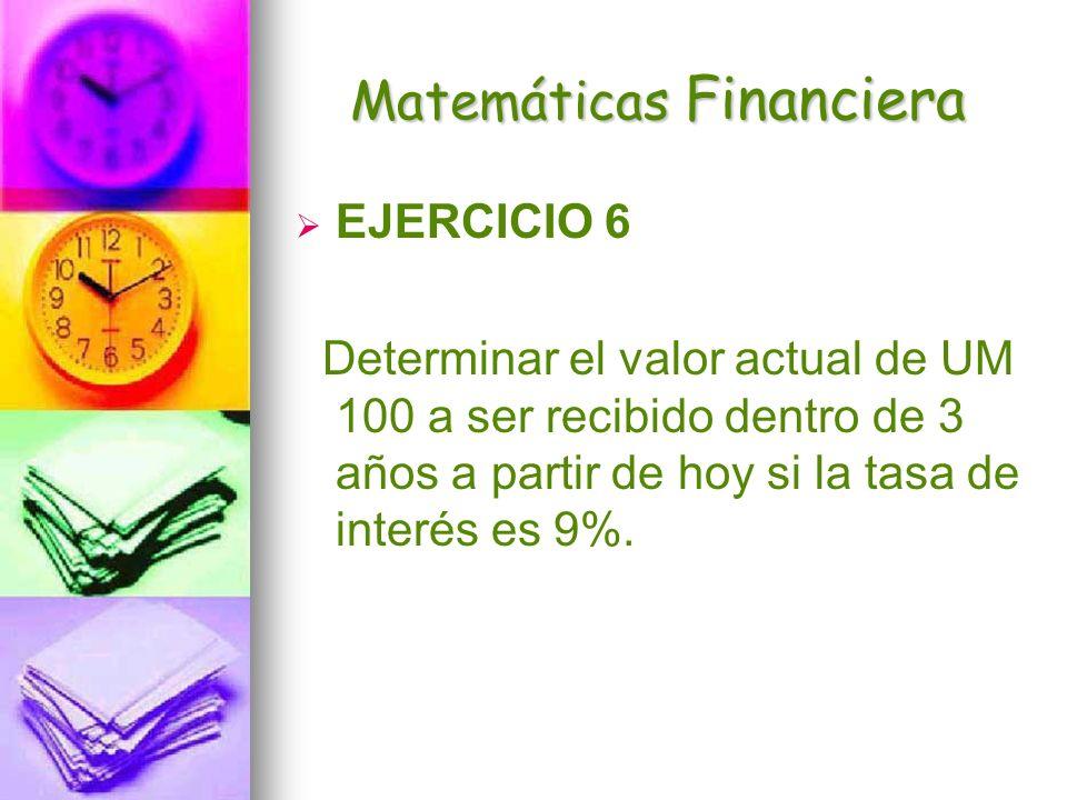 Matemáticas Financiera EJERCICIO 6 Determinar el valor actual de UM 100 a ser recibido dentro de 3 años a partir de hoy si la tasa de interés es 9%.