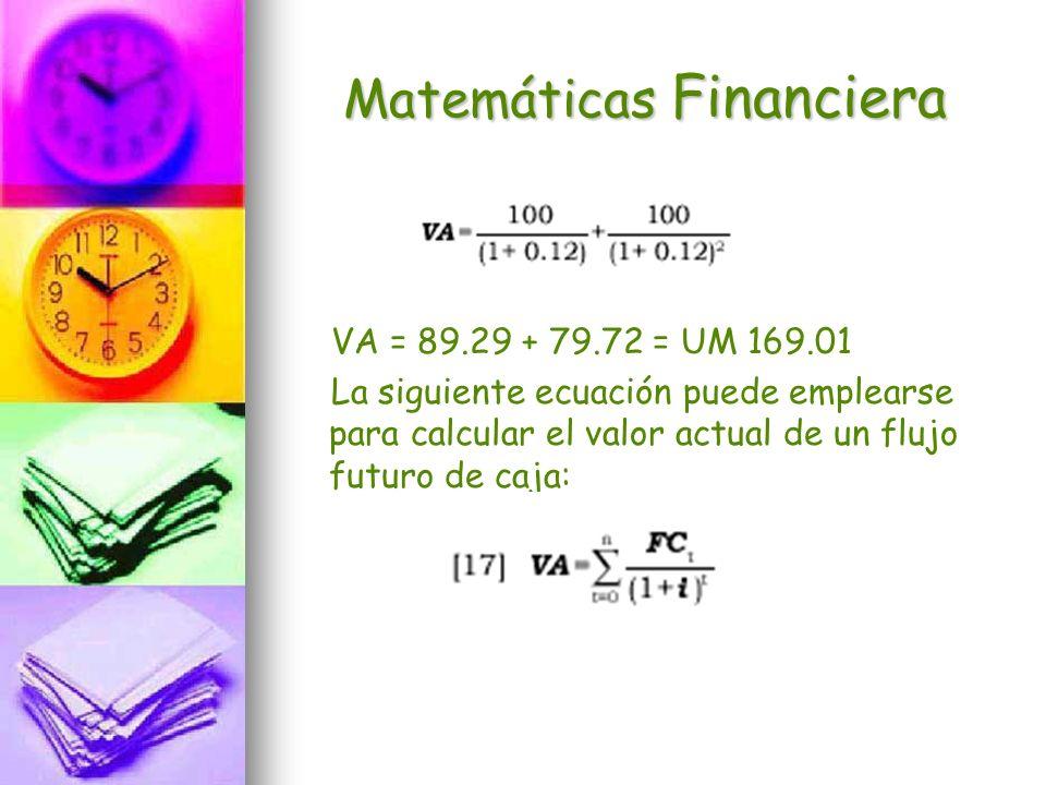 Matemáticas Financiera VA = 89.29 + 79.72 = UM 169.01 La siguiente ecuación puede emplearse para calcular el valor actual de un flujo futuro de caja: