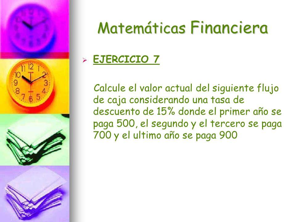 Matemáticas Financiera EJERCICIO 7 Calcule el valor actual del siguiente flujo de caja considerando una tasa de descuento de 15% donde el primer año s