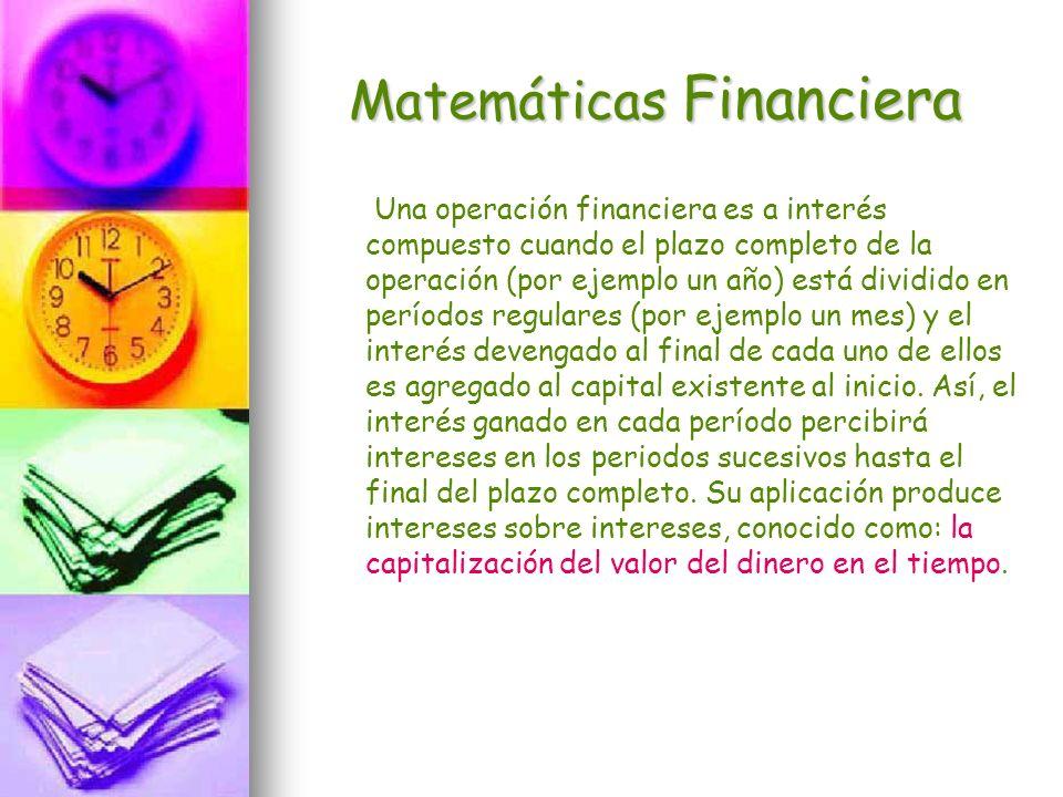 Matemáticas Financiera Una operación financiera es a interés compuesto cuando el plazo completo de la operación (por ejemplo un año) está dividido en