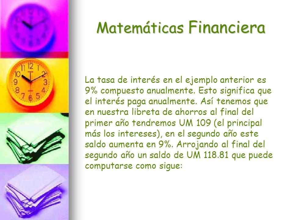Matemáticas Financiera La tasa de interés en el ejemplo anterior es 9% compuesto anualmente. Esto significa que el interés paga anualmente. Así tenemo