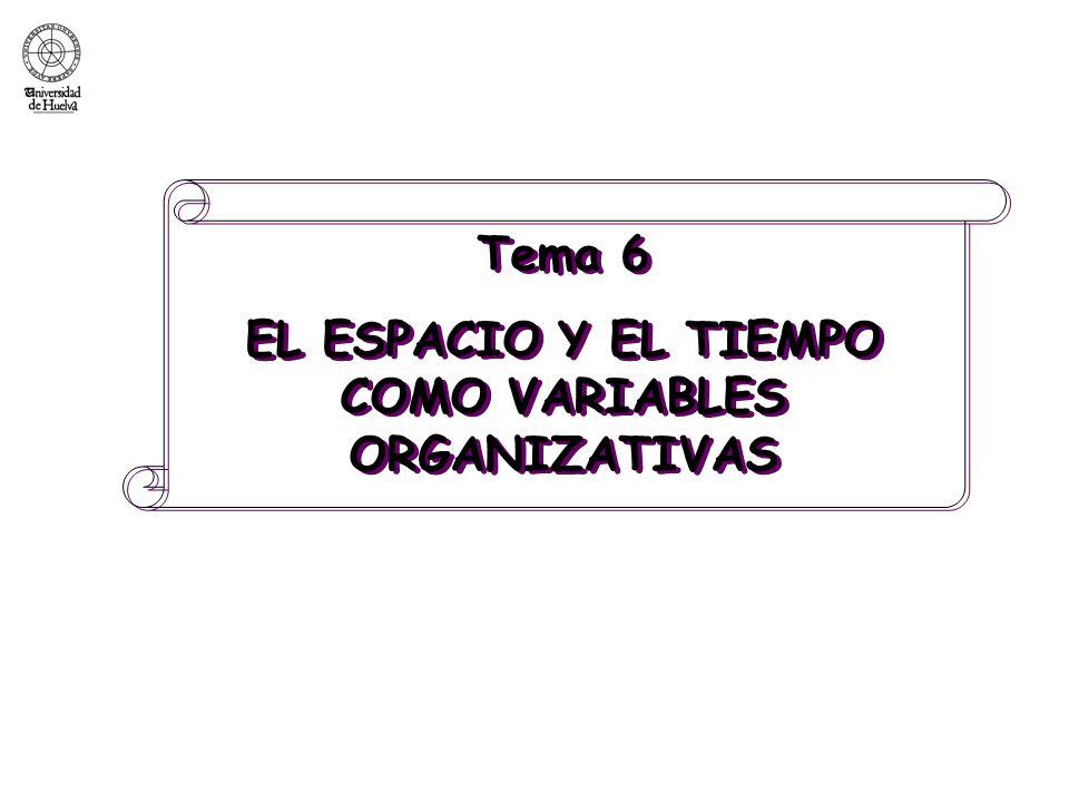 Tema 6 EL ESPACIO Y EL TIEMPO COMO VARIABLES ORGANIZATIVAS Tema 6 EL ESPACIO Y EL TIEMPO COMO VARIABLES ORGANIZATIVAS