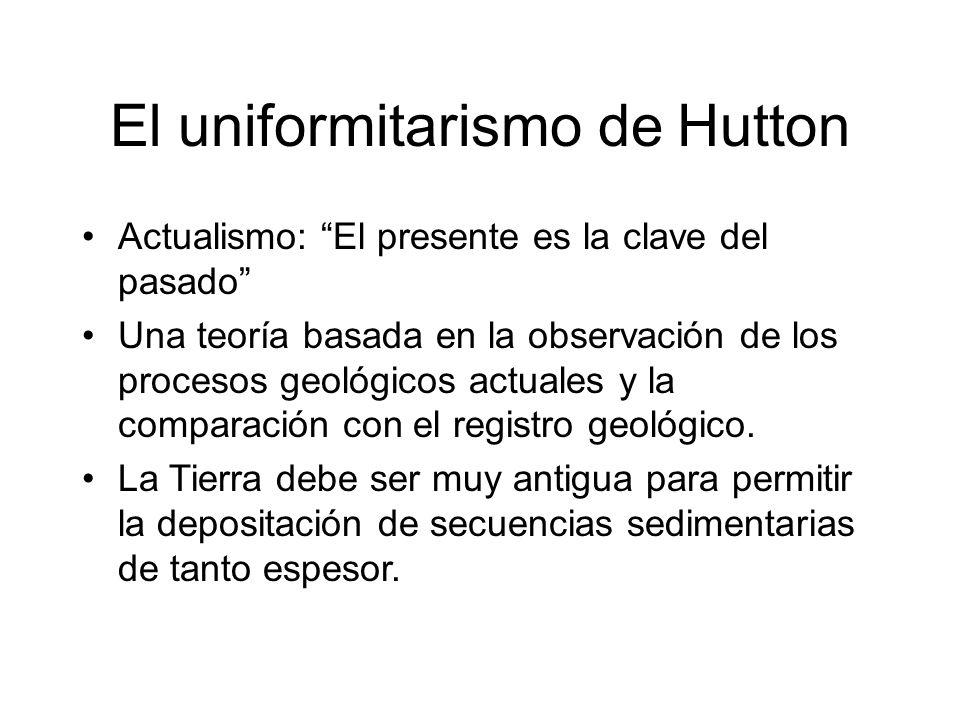 El uniformitarismo de Hutton Actualismo: El presente es la clave del pasado Una teoría basada en la observación de los procesos geológicos actuales y
