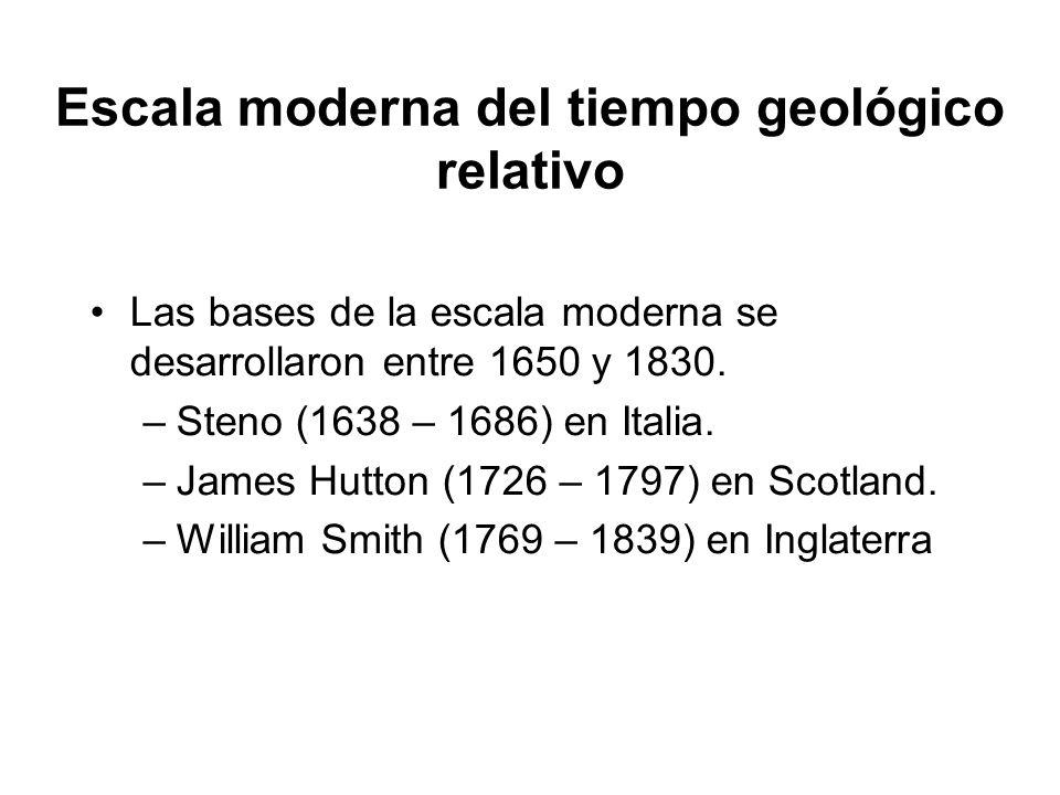 Escala moderna del tiempo geológico relativo Las bases de la escala moderna se desarrollaron entre 1650 y 1830. –Steno (1638 – 1686) en Italia. –James