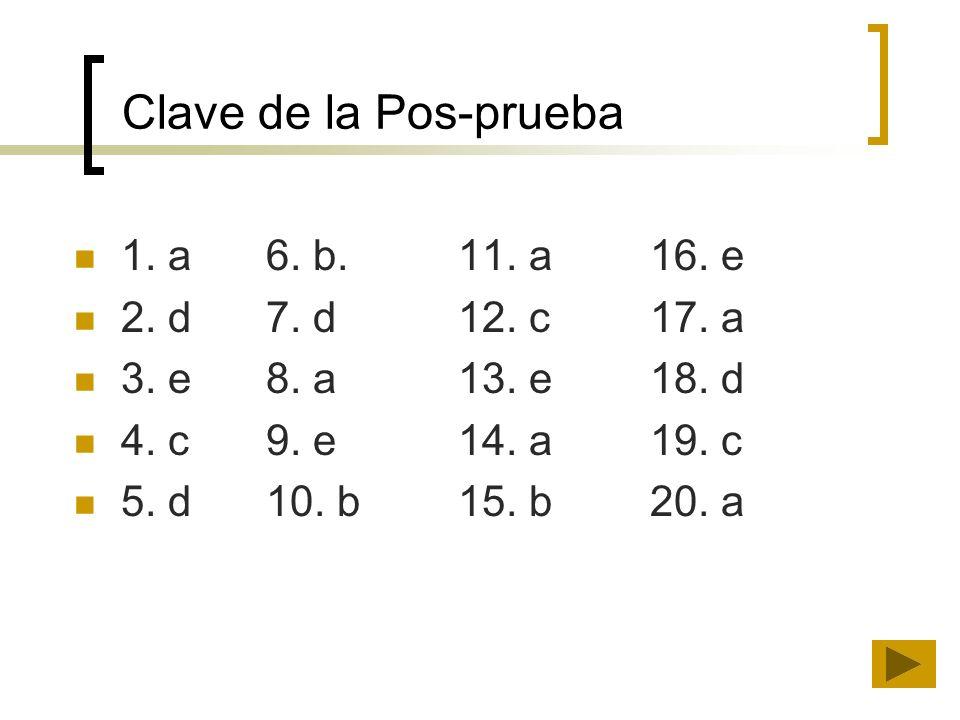 Clave de la Pos-prueba 1. a6. b.11. a16. e 2. d7. d12. c17. a 3. e8. a13. e18. d 4. c9. e14. a19. c 5. d10. b15. b20. a