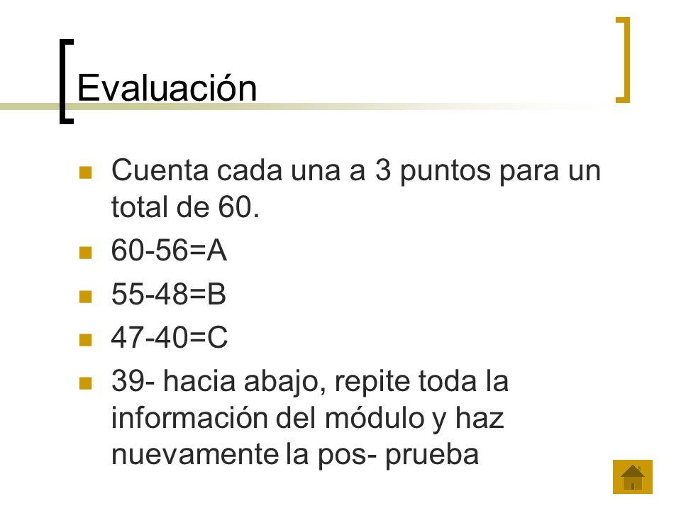 Evaluación Cuenta cada una a 3 puntos para un total de 60. 60-56=A 55-48=B 47-40=C 39- hacia abajo, repite toda la información del módulo y haz nuevam