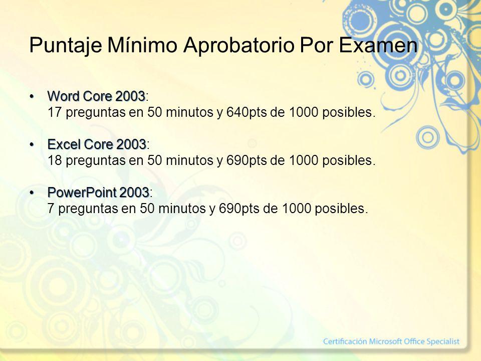 Puntaje Mínimo Aprobatorio Por Examen Word Core 2003Word Core 2003: 17 preguntas en 50 minutos y 640pts de 1000 posibles. Excel Core 2003Excel Core 20