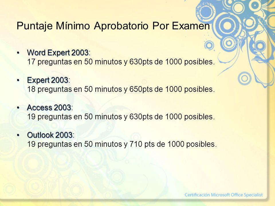 Puntaje Mínimo Aprobatorio Por Examen Word Expert 2003Word Expert 2003: 17 preguntas en 50 minutos y 630pts de 1000 posibles. Expert 2003Expert 2003: