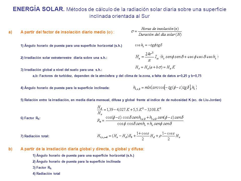 ENERGÍA SOLAR. Métodos de cálculo de la radiación solar diaria sobre una superficie inclinada orientada al Sur a)A partir del factor de insolación dia