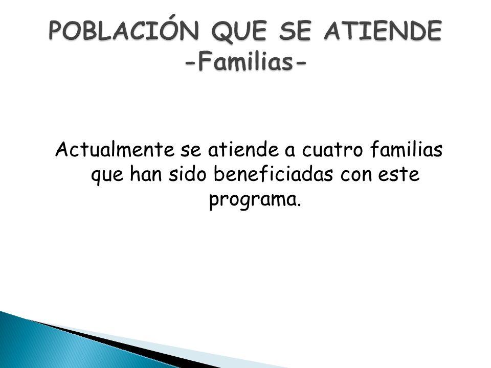 Actualmente se atiende a cuatro familias que han sido beneficiadas con este programa.