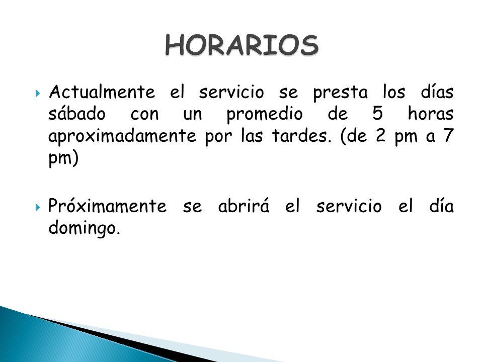 Actualmente el servicio se presta los días sábado con un promedio de 5 horas aproximadamente por las tardes. (de 2 pm a 7 pm) Próximamente se abrirá e