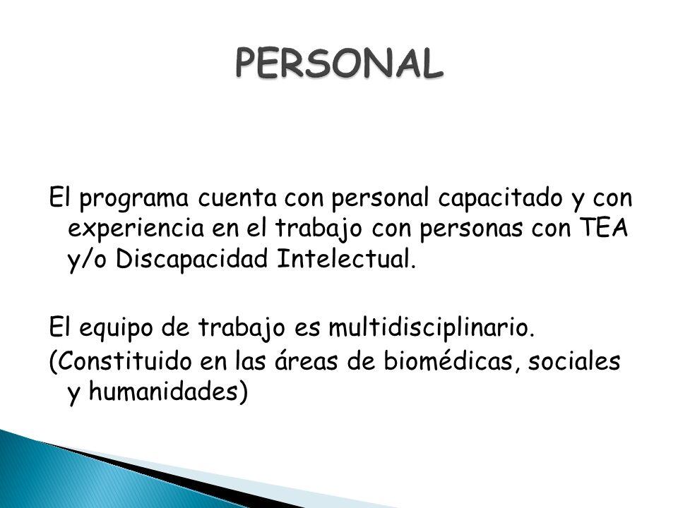 El programa cuenta con personal capacitado y con experiencia en el trabajo con personas con TEA y/o Discapacidad Intelectual. El equipo de trabajo es