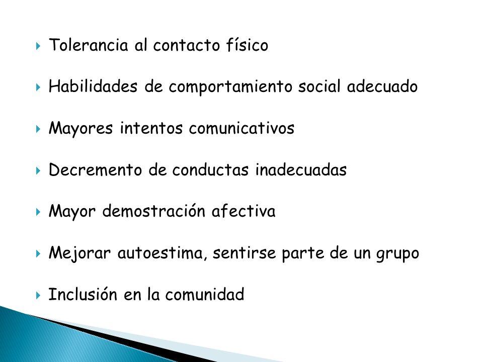 Tolerancia al contacto físico Habilidades de comportamiento social adecuado Mayores intentos comunicativos Decremento de conductas inadecuadas Mayor d