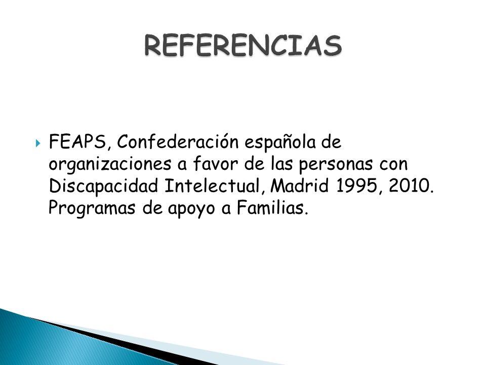 FEAPS, Confederación española de organizaciones a favor de las personas con Discapacidad Intelectual, Madrid 1995, 2010. Programas de apoyo a Familias