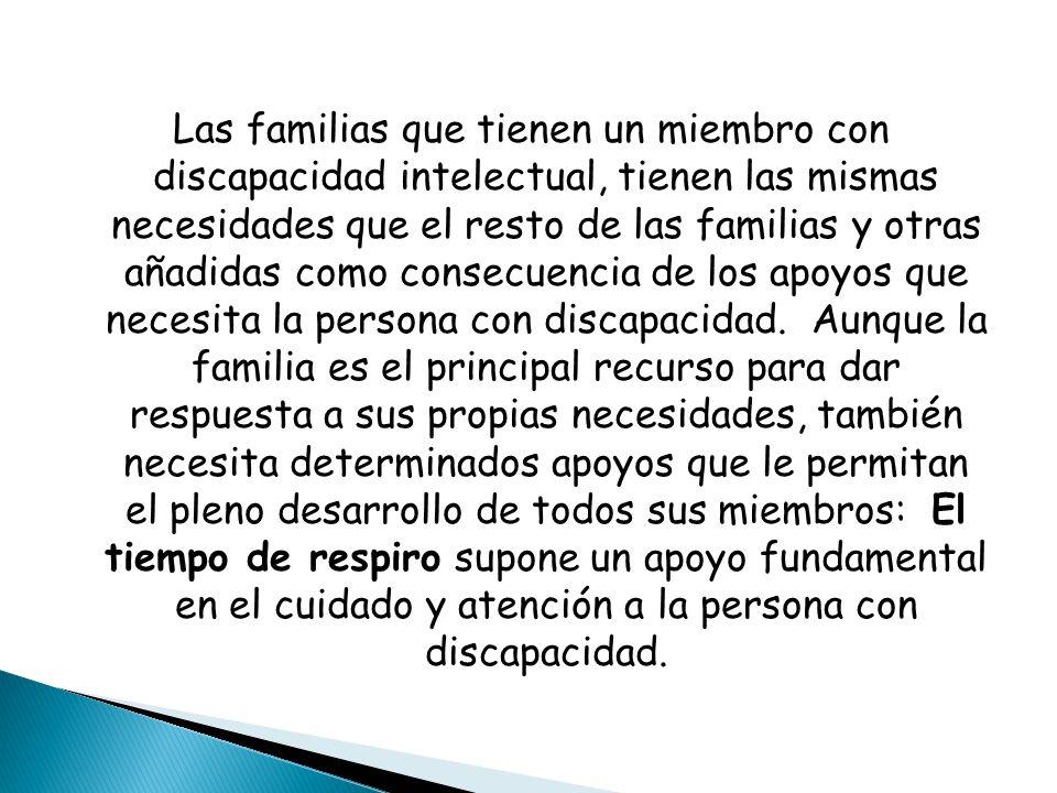 Las familias que tienen un miembro con discapacidad intelectual, tienen las mismas necesidades que el resto de las familias y otras añadidas como cons