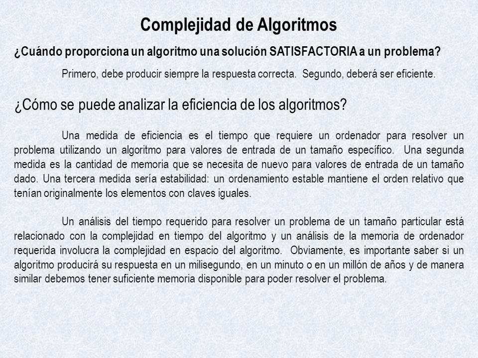 Complejidad de Algoritmos ¿Cuándo proporciona un algoritmo una solución SATISFACTORIA a un problema? Primero, debe producir siempre la respuesta corre