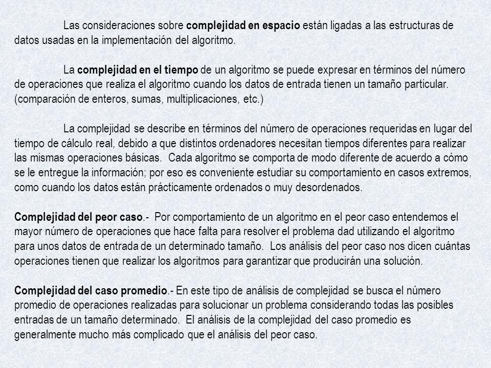 Las consideraciones sobre complejidad en espacio están ligadas a las estructuras de datos usadas en la implementación del algoritmo. La complejidad en