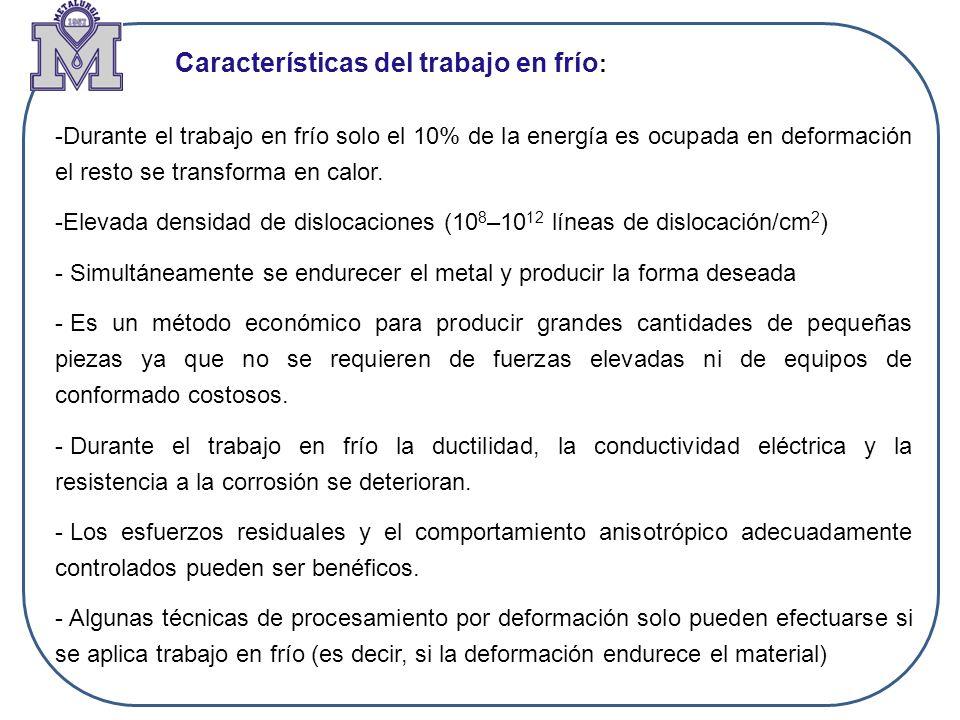 Ejercicio: Determine la energía de activación para el proceso de recristalización de cobre deformado en frío un 98%.