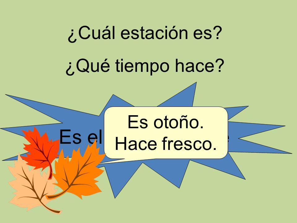 ¿Cuál estación es? ¿Qué tiempo hace? Es el 25 de octubre Es otoño. Hace fresco.