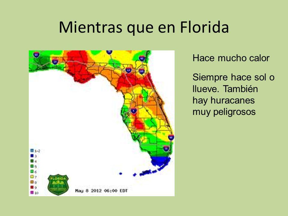 Mientras que en Florida Hace mucho calor Siempre hace sol o llueve.