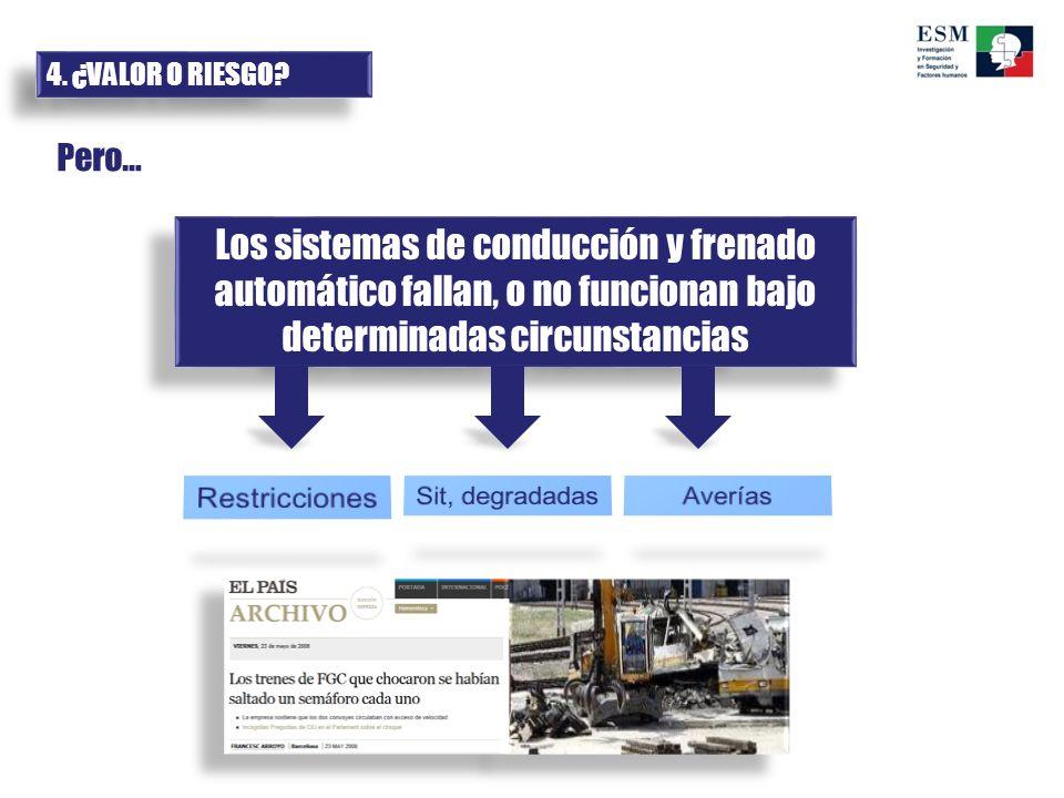 4. ¿VALOR O RIESGO? Pero… Los sistemas de conducción y frenado automático fallan, o no funcionan bajo determinadas circunstancias