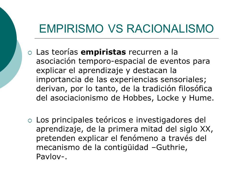 EMPIRISMO VS RACIONALISMO Las teorías empiristas recurren a la asociación temporo-espacial de eventos para explicar el aprendizaje y destacan la importancia de las experiencias sensoriales; derivan, por lo tanto, de la tradición filosófica del asociacionismo de Hobbes, Locke y Hume.