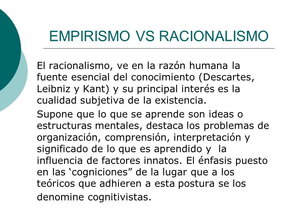 EMPIRISMO VS RACIONALISMO El racionalismo, ve en la razón humana la fuente esencial del conocimiento (Descartes, Leibniz y Kant) y su principal interés es la cualidad subjetiva de la existencia.